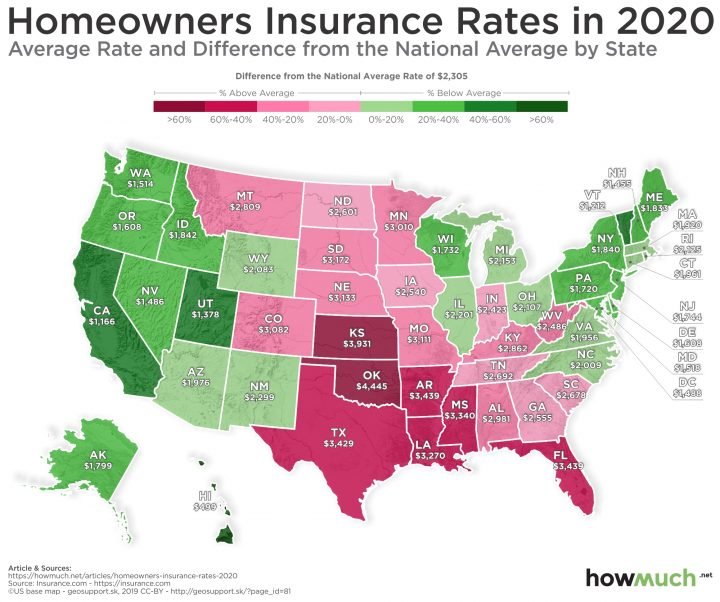 map of the US color coded to show the average cost of homeowners insurance by state